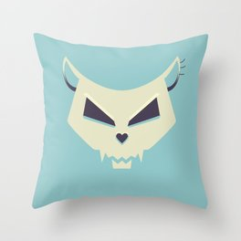 Pastel Evil Cat Skull Throw Pillow