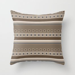 Squares and Stripes Geometric Design in Brown Throw Pillow