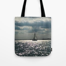 """Lake Erie Sailboat"" photography by Willowcatdesigns Tote Bag"