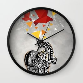 Indian Elephant with origami birds Wall Clock