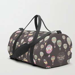 Adventures. Illustration with air balloons in vintage hipster style Duffle Bag