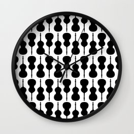 Double Bass Pattern - black on white Wall Clock