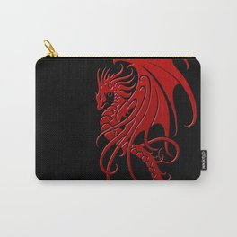Flying Red and Black Tribal Dragon Carry-All Pouch