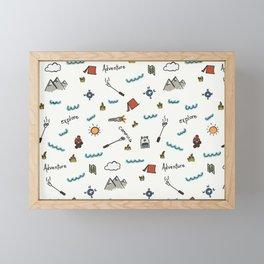 Adventure Pattern | Camping Pattern | Hiking Pattern | Hand Drawn Outdoors Pattern Framed Mini Art Print