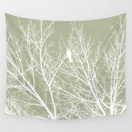 White Bird in White Tree - Moss A593 Wall Tapestry