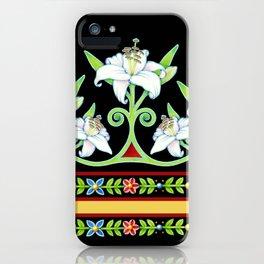 Elizabethan Lily Folkloric Stripe iPhone Case