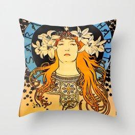 "Alphonse Mucha ""Sarah Bernhardt"" Throw Pillow"