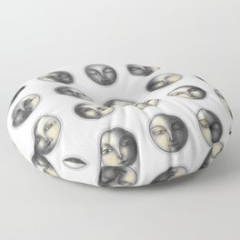 moon phases and romanticism Floor Pillow