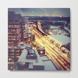 Night + Car Lights Metal Print