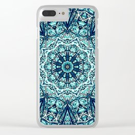 Green Blue Black Mandala  Psychedelic Pattern Clear iPhone Case