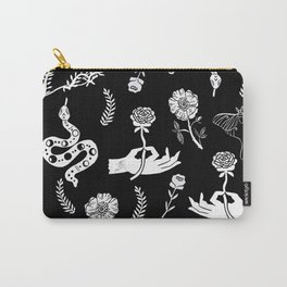 Linocut snakes hand rose floral black and white spooky gothic pattern Carry-All Pouch