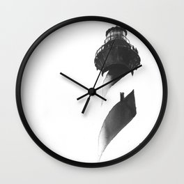 Cape Hatteras Lighthouse on Outer Banks, NC.  B&W painting Wall Clock