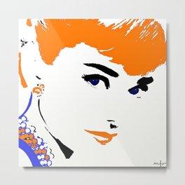 Audrey So Beautful In Orange and Blue Metal Print