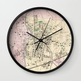 Vintage Map of Stamford CT (1867) Wall Clock
