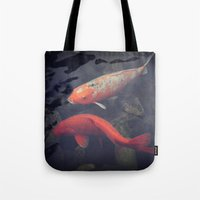 koi fish Tote Bags featuring Koi Fish by KunstFabrik_StaticMovement Manu Jobst