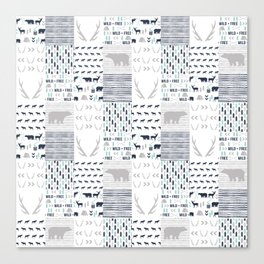 Camper antlers bears pattern minimal nursery basic navy mint grey white camping cabin chalet decor Canvas Print