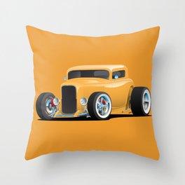 Classic American 32 Hotrod Car Illustration Throw Pillow