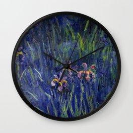 Irises No. 2 still life painting by Claude Monet Wall Clock