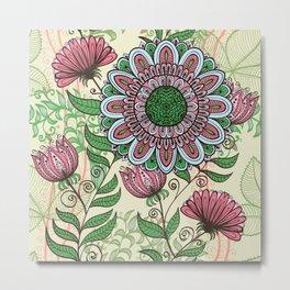 Hand Drawn Floral & Mandala 03 Metal Print
