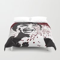hitchcock Duvet Covers featuring Hitchcock Inspired Art  by pennyprintables