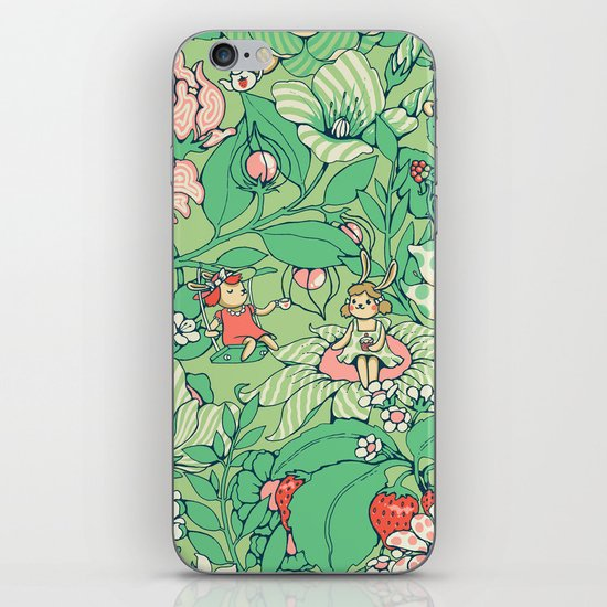 Garden party - sage tea version iPhone & iPod Skin