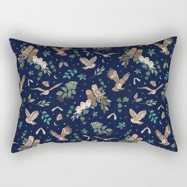 Woodland Owls at Midnight Rectangular Pillow