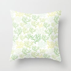 Green Corals Throw Pillow