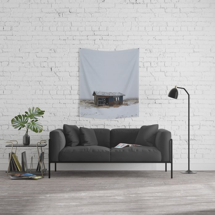 Hopeless, Abandoned, and Alone Under Grey Snow Filled Sky Wall Tapestry