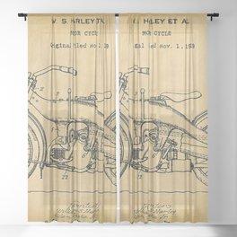 1919 Motorcycle Original Paper Patent Blueprint Sheer Curtain