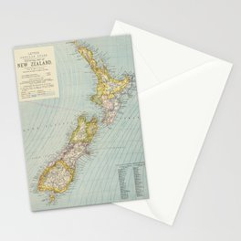 Vintage Map of New Zealand (1883) Stationery Cards