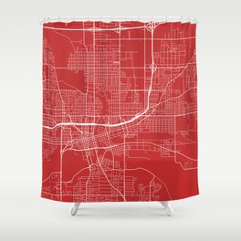 Des Moines Map, USA - Red Shower Curtain