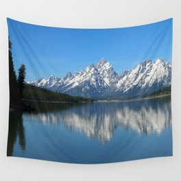 Jackson Lake and Grand Teton Refection Wall Tapestry