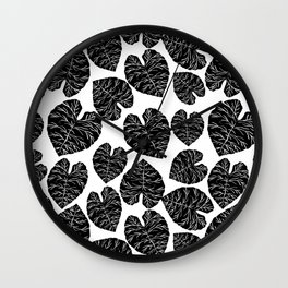 Multi linocut leaves tropical plant indoor house plants black and white pattern lino print dorm room Wall Clock