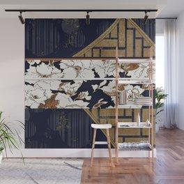 Navy and Gold Herringbone Peony Obi Print Wall Mural