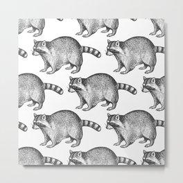 Vintage Trash Panda Raccoon Grid Metal Print
