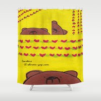coasters Shower Curtains featuring Grumpy Bear - Coasters by Shereen Yap