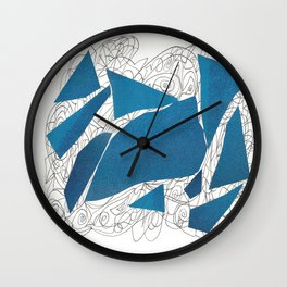 Blue Collage doodle Wall Clock