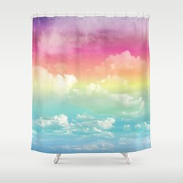 Clouds in a Rainbow Unicorn Sky Shower Curtain