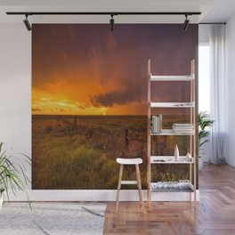 Sunset on the Plains - Sun Illuminates Sky After Stormy Day Wall Mural
