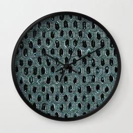 Watercolour Blackwork: 'Lozenge' Burnt Turquoise 1 (dark) Wall Clock