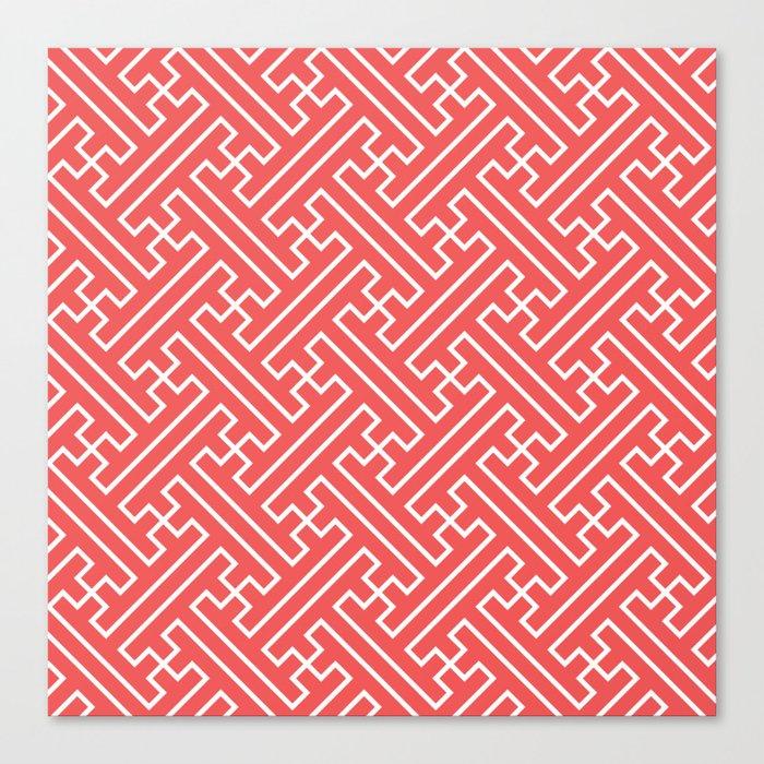 Lattice - Coral Canvas Print