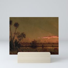Tropical Everglades Pink Sunset with clouds and palm trees Florida marsh river of grass landscape painting by Martin Johnson Heade Mini Art Print
