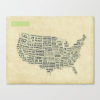 america Canvas Prints featuring America by th0ught