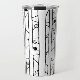 Into the Woods black on white Travel Mug