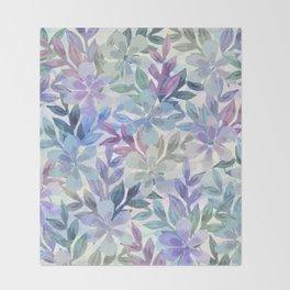 watercolor Botanical garden Throw Blanket