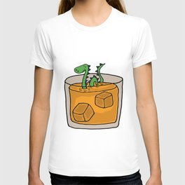 Funny Green Loch Ness Monster in Scotch Whiskey Glass Original Artwork T-shirt