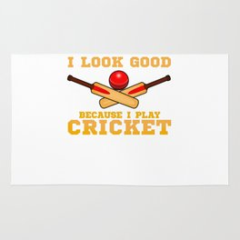 Funny I Look Good Because I Play Cricket Player Rug