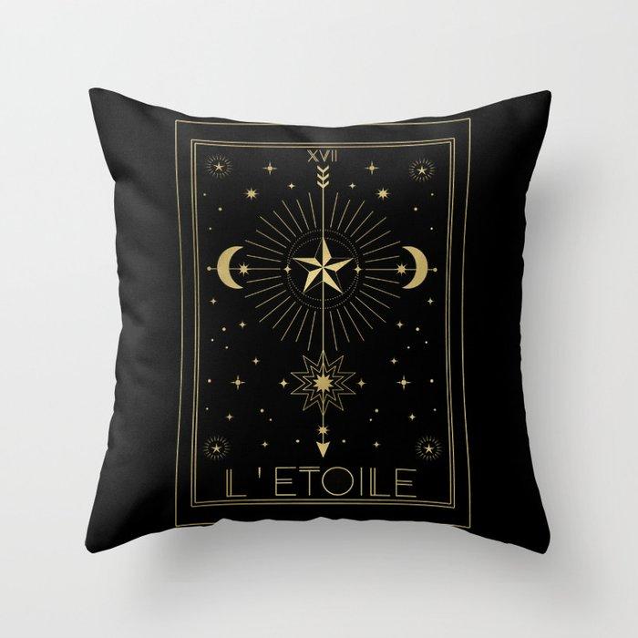 L'Etoile or The Star Tarot Gold Throw Pillow