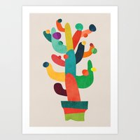 cactus Art Prints featuring Whimsical Cactus by Picomodi