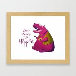 Hippie Hippo Framed Art Print